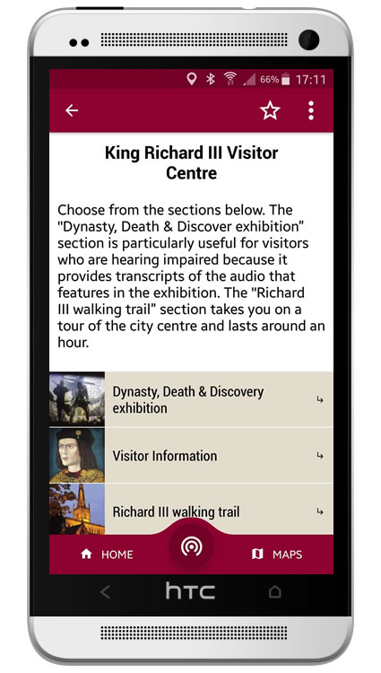 Visitor Guide app screenshot - taken from the King Richard III Situate app
