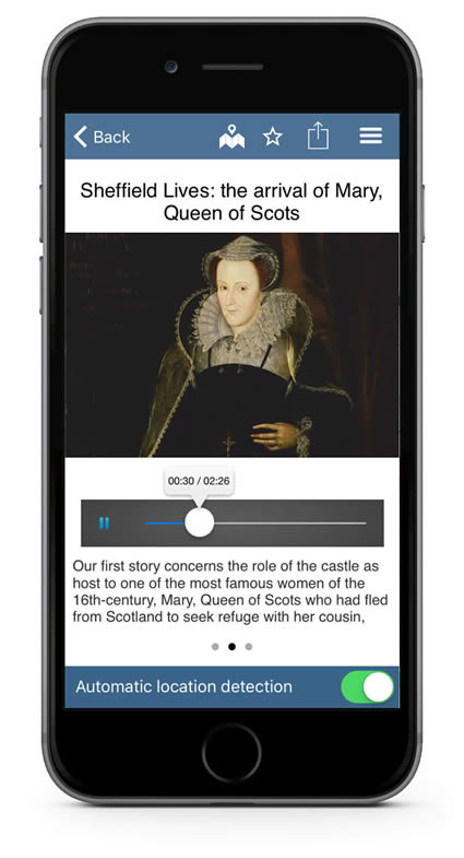 Audio Guide app screenshot - taken from the Sheffield Lives Situate app