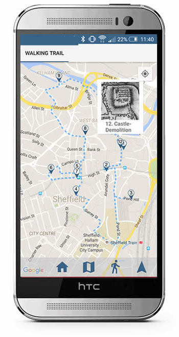 Walking Trail app screenshot - taken from the Sheffield Lives Situate app