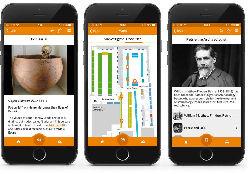Petrie Museum app montage