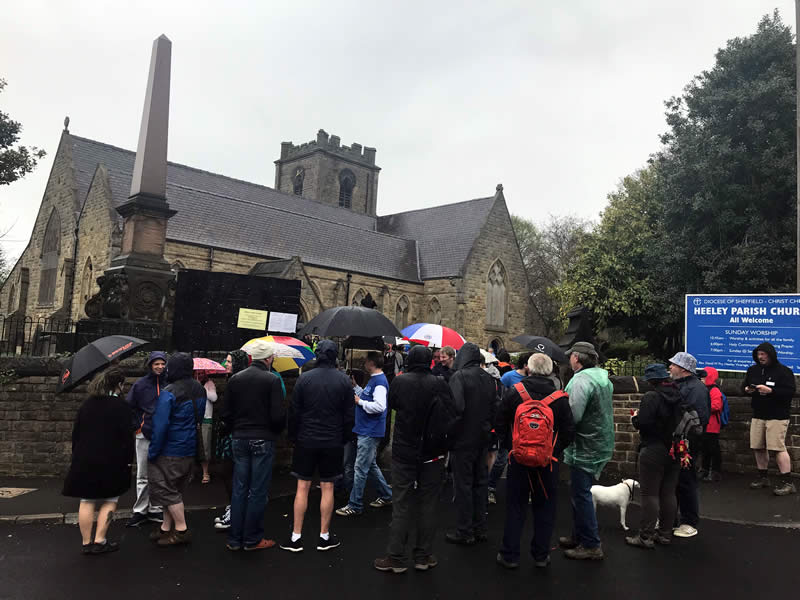 Outside Heeley Church, about to set off on the Sheffield: Home of Football walking tour