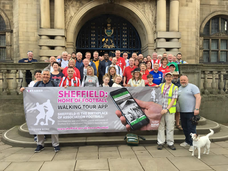 Sheffield: Home of Football - outside Sheffield Town Hall